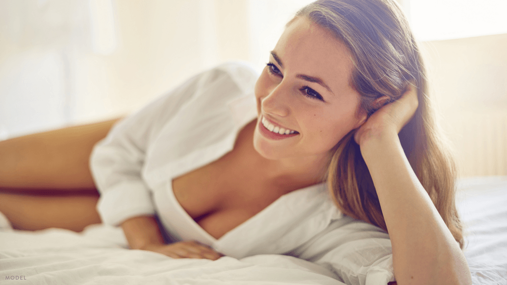 Woman relaxing after Breast Augmentation in Guilford, CT